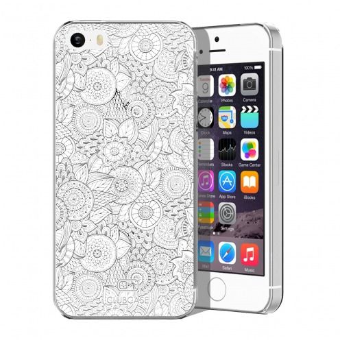 Extra Slim Crystal iPhone 5/5S/SE Case Case Floral Lace Collection - White