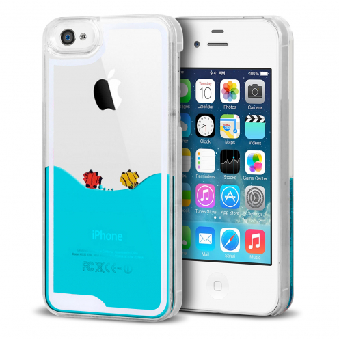 Crystal Liquid Sea and Fishes case for iPhone 4/4S
