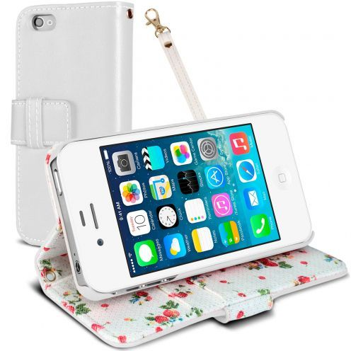 Country Floral Folio Wallet Case for iPhone 4S / 4 - White