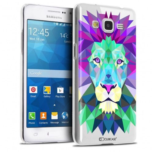 Extra Slim Crystal Galaxy Grand Prime Case Polygon Animals Lion