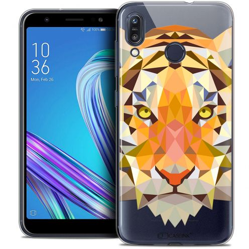 "Extra Slim Crystal Gel Asus Zenfone Max (M1) ZB555KL (5.5"") Case Polygon Animals Tiger"