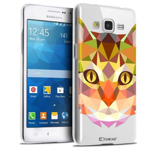 Extra Slim Crystal Galaxy Grand Prime Case Polygon Animals Cat