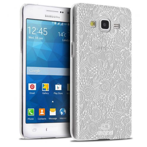 Extra Slim Crystal Galaxy Grand Prime Case Case Floral Lace Collection - White