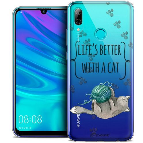 """Extra Slim Crystal Gel Huawei P Smart 2019 (6.21"""") Case Quote Life's Better With a Cat"""