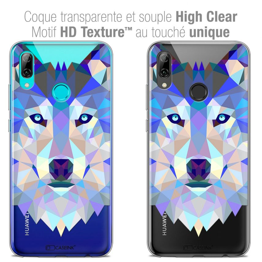 "Extra Slim Crystal Gel Huawei P Smart 2019 (6.21"") Case Polygon Animals Wolf"