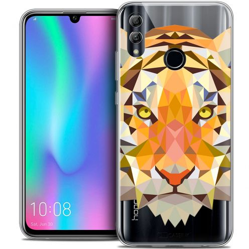 "Extra Slim Crystal Gel Huawei Honor 10 LITE (5.8"") Case Polygon Animals Tiger"