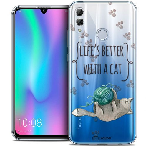 "Extra Slim Crystal Gel Huawei Honor 10 LITE (5.8"") Case Quote Life's Better With a Cat"