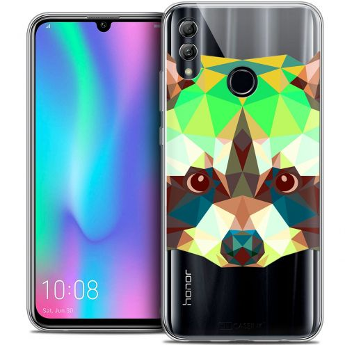 "Extra Slim Crystal Gel Huawei Honor 10 LITE (5.8"") Case Polygon Animals Raton Laveur"