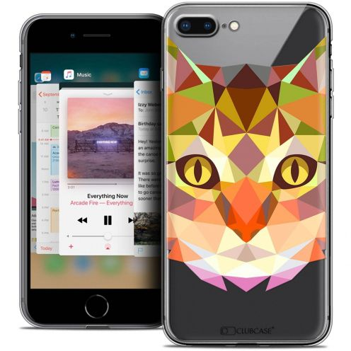"Extra Slim Crystal Gel Apple iPhone 7 Plus (5.5"") Case Polygon Animals Cat"