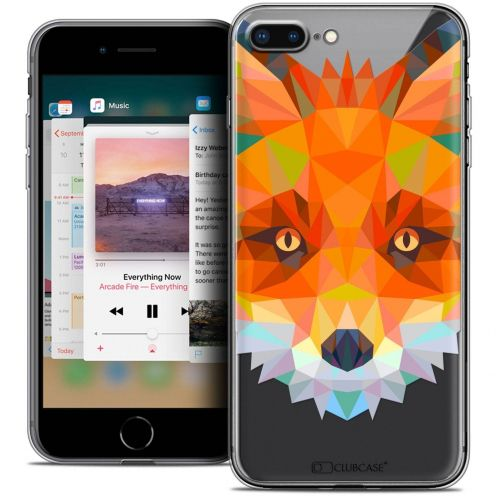 "Extra Slim Crystal Gel Apple iPhone 7 Plus (5.5"") Case Polygon Animals Fox"