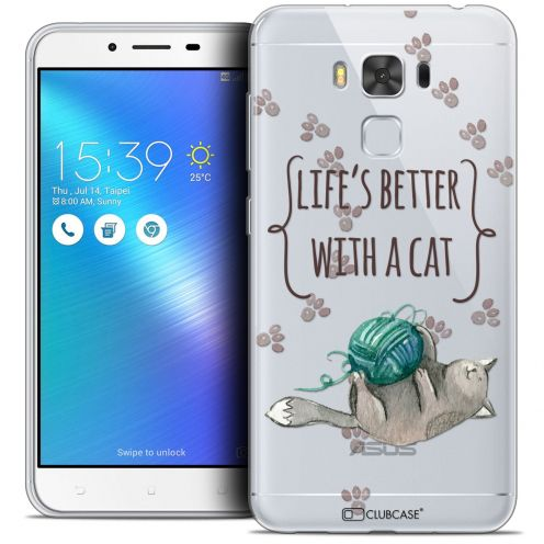 "Extra Slim Crystal Gel Asus Zenfone 3 Max Plus ZC553KL (5.5"") Case Quote Life's Better With a Cat"