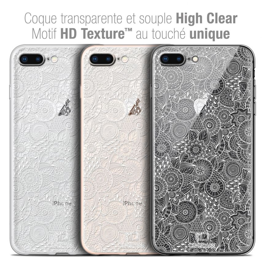 """Extra Slim Crystal Gel Apple iPhone 7/8 Plus (5.5"""") Case Floral Lace Collection - White"""