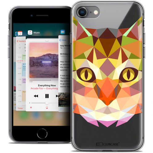 "Extra Slim Crystal Gel Apple iPhone 8 (4.7"") Case Polygon Animals Cat"