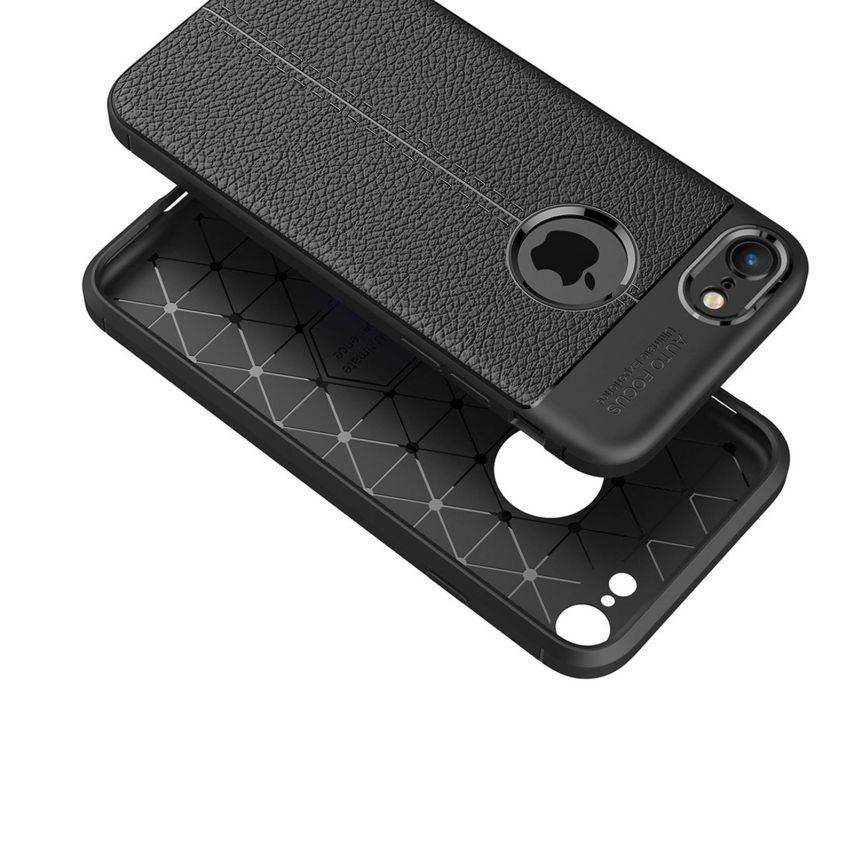 """Leather Texture Hybrid™ Series Case for Apple iPhone 7/8 (4.7"""") - Black Night"""