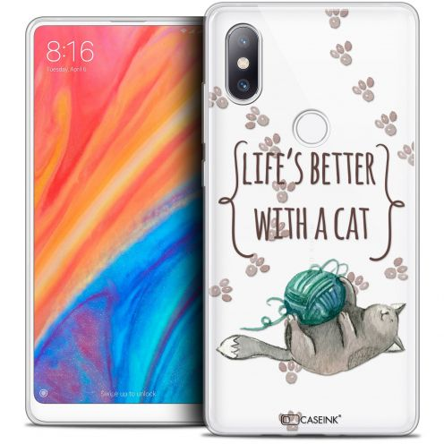 """Extra Slim Crystal Gel Xiaomi Mi Mix 2S (5.99"""") Case Quote Life's Better With a Cat"""