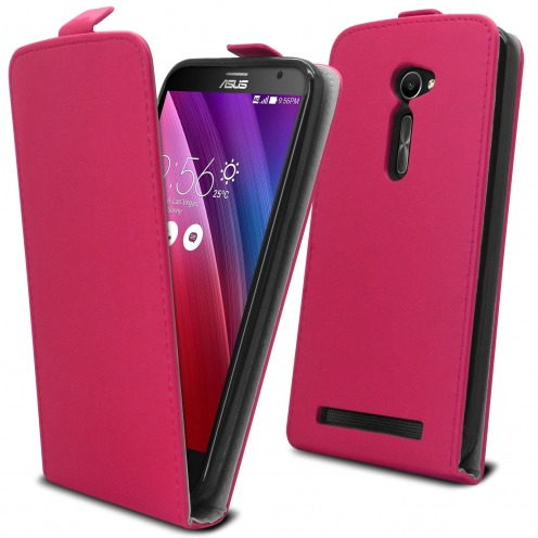 """Clamshell Flip Flexi Case for Asus Zenfone 2 (5.0"""") Eco Leather Pink"""