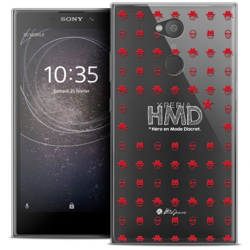 "Extra Slim Crystal Gel Sony Xperia L2 (5.5"") Case Petits Grains® HMD* Hero en Mode Discret"