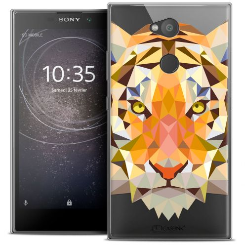"Extra Slim Crystal Gel Sony Xperia L2 (5.5"") Case Polygon Animals Tiger"