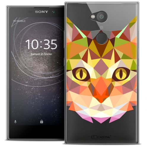 "Extra Slim Crystal Gel Sony Xperia L2 (5.5"") Case Polygon Animals Cat"