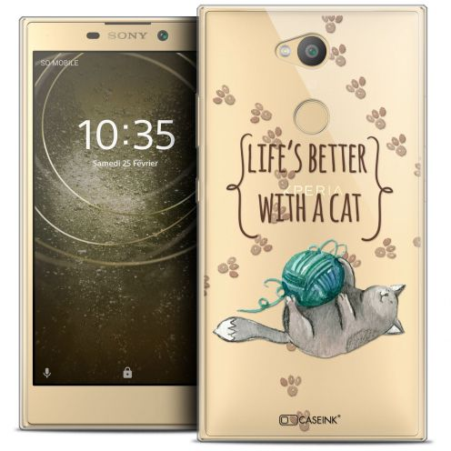 "Extra Slim Crystal Gel Sony Xperia L2 (5.5"") Case Quote Life's Better With a Cat"