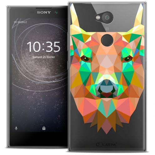 "Extra Slim Crystal Gel Sony Xperia L2 (5.5"") Case Polygon Animals Deer"