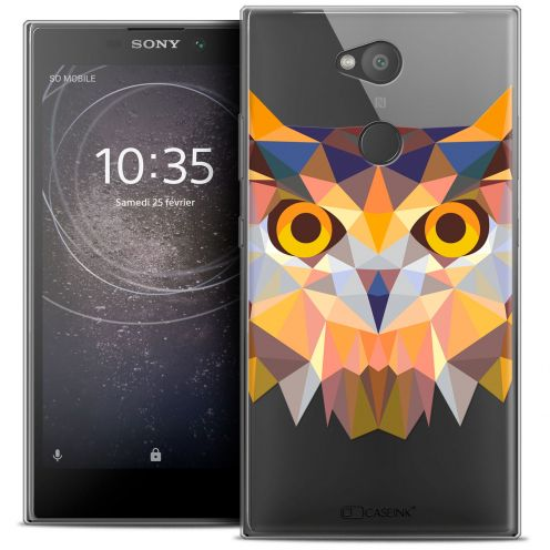 "Extra Slim Crystal Gel Sony Xperia L2 (5.5"") Case Polygon Animals Owl"