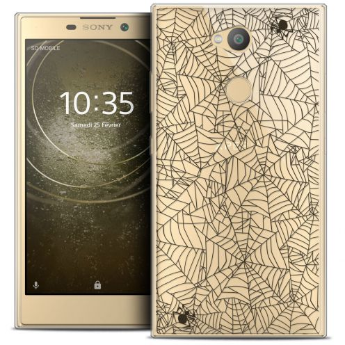 "Extra Slim Crystal Gel Sony Xperia L2 (5.5"") Case Halloween Spooky Spider"