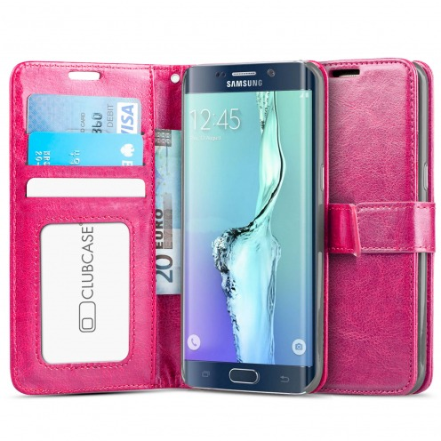 Folio Wallet Case for Samsung Galaxy S6 Edge+ / Plus Veined Pink Leatherette