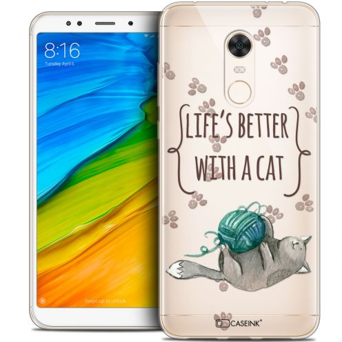 "Extra Slim Crystal Gel Xiaomi Redmi 5 Plus (6"") Case Quote Life's Better With a Cat"