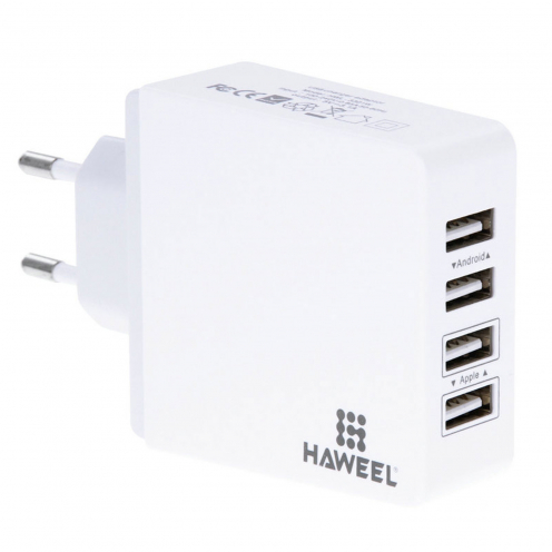 Haweel® Quick Charge Adaptor AC Charger - 4xUSB - 3.1A - EU