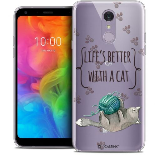 "Extra Slim Crystal Gel LG Q7 (5.5"") Case Quote Life's Better With a Cat"
