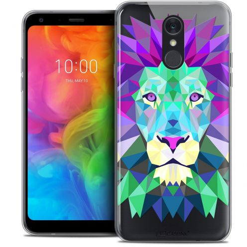 "Extra Slim Crystal Gel LG Q7 (5.5"") Case Polygon Animals Lion"