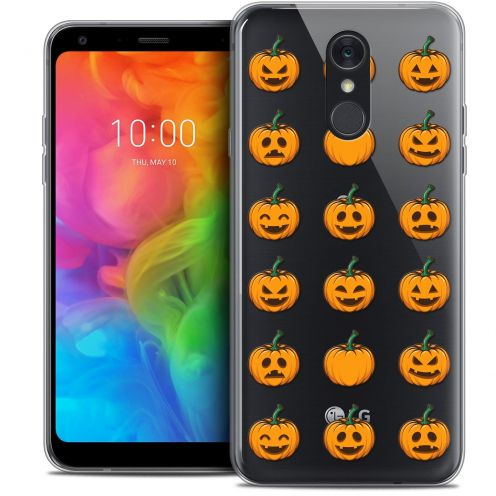 "Extra Slim Crystal Gel LG Q7 (5.5"") Case Halloween Smiley Citrouille"