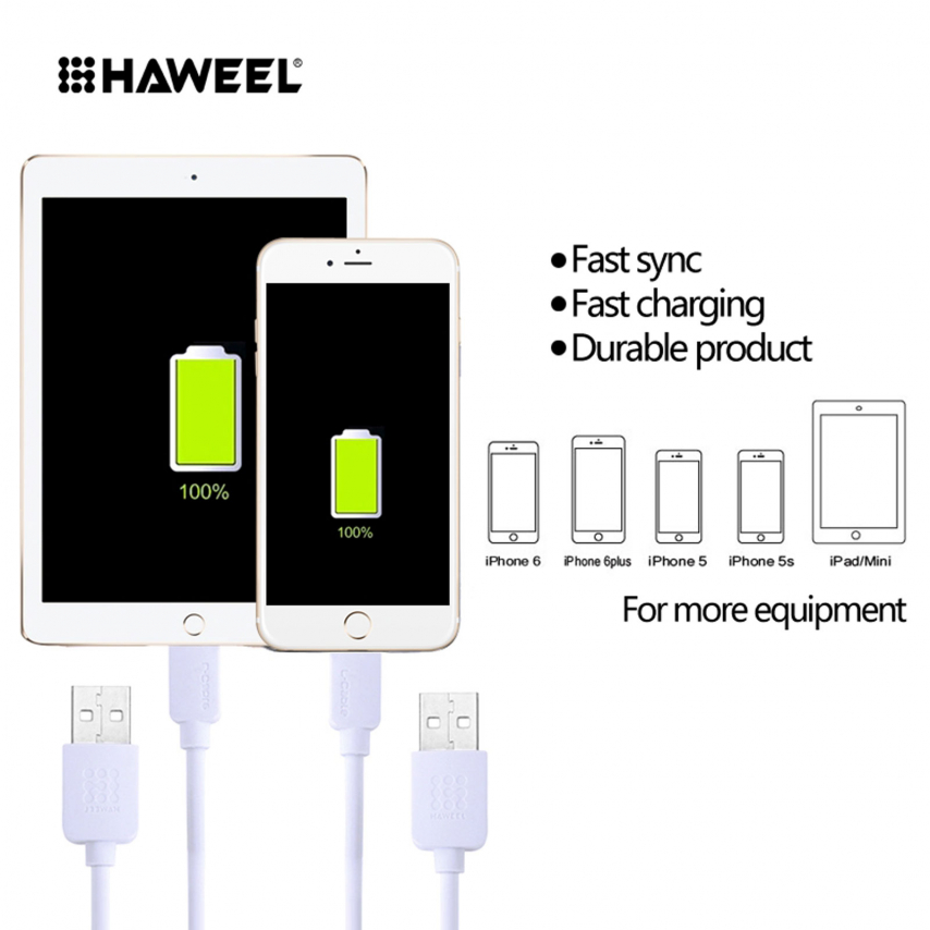 Haweel® Fast Series USB to 8 Pin Cable for iPhone 6s/6/Plus/5/S/C/iPad/iPad Pro - White