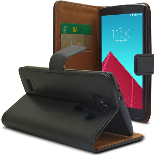 Folio Wallet Flexi Case for LG G4 Genuine Italian Leather Black