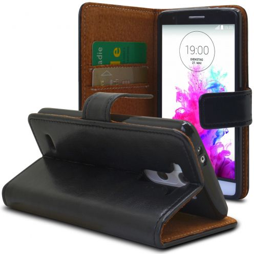 Folio Wallet Flexi Case for LG G3s / Mini Genuine Italian Leather Black