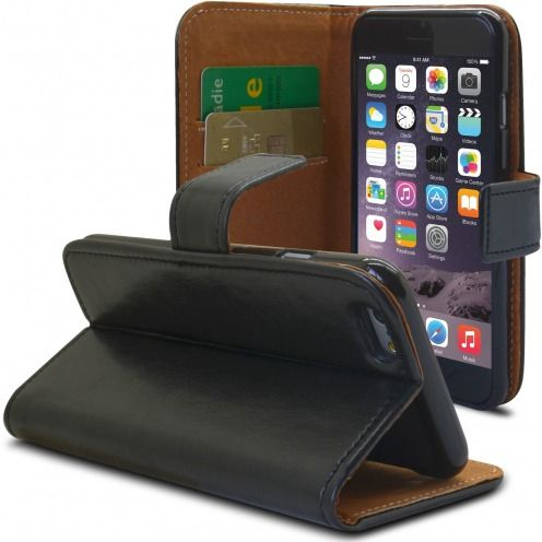 Folio Wallet Flexi Case for Apple iPhone 6 Plus / 6s Plus Genuine Italian Leather Black