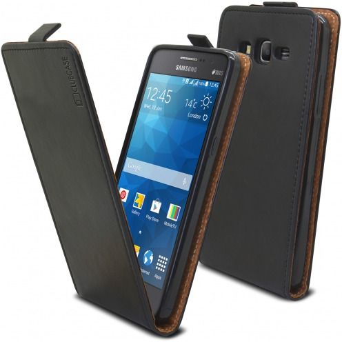 Clamshell Flip Flexi Case for Samsung Galaxy Grand Prime Genuine Italian Leather Black