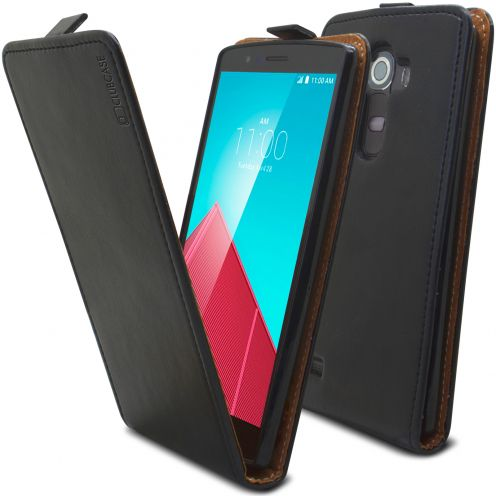 Clamshell Flip Flexi Case for LG G4 Genuine Italian Leather Black