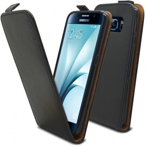 Clamshell Flip Flexi Case for Samsung Galaxy S6 Genuine Italian Leather Black