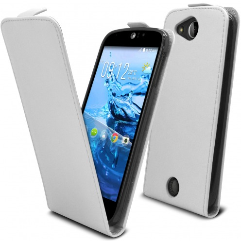 Clamshell Flip Flexi Case for Acer Liquid Jade S (s56) Eco Leather White