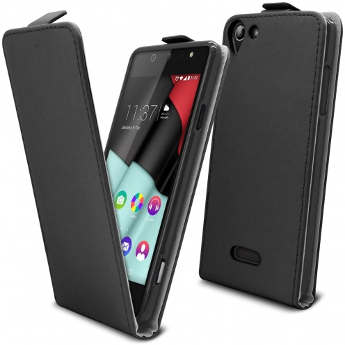 Clamshell Flip Flexi Case for Wiko Selfy 4G Eco Leather Black