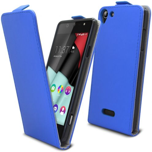 Clamshell Flip Flexi Case for Wiko Selfy 4G Eco Leather Blue