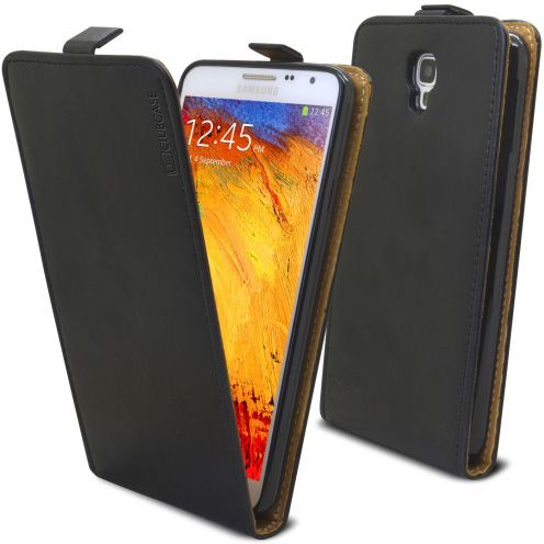 Clamshell Flip Flexi Case for Samsung Galaxy Note 3 Neo/Lite Genuine Italian Leather Black