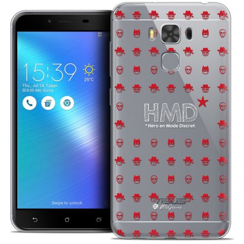 "Extra Slim Crystal Gel Asus Zenfone 3 Max Plus ZC553KL (5.5"") Case Petits Grains® HMD* Hero en Mode Discret"