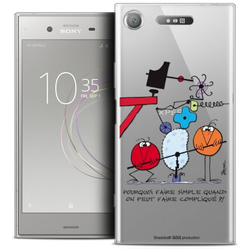 """Extra Slim Crystal Gel Sony Xperia XZ1 (5.2"""") Case Les Shadoks® Pourquoi faire Simple"""