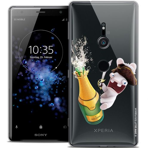 "Crystal Gel Sony Xperia XZ2 (5.7"") Case Lapins Crétins™ Champagne !"