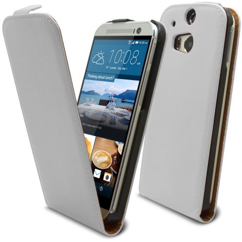 Clamshell Flip Case for HTC One M8 Eco Leather White