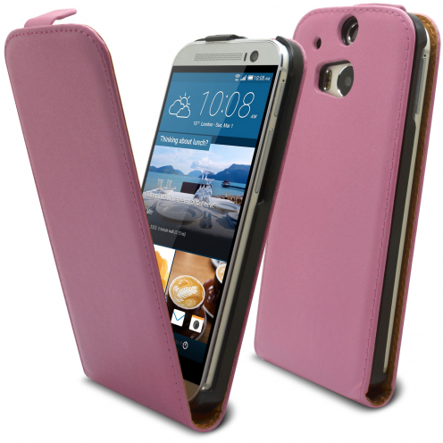 Clamshell Flip Case for HTC One M8 Eco Leather Pink