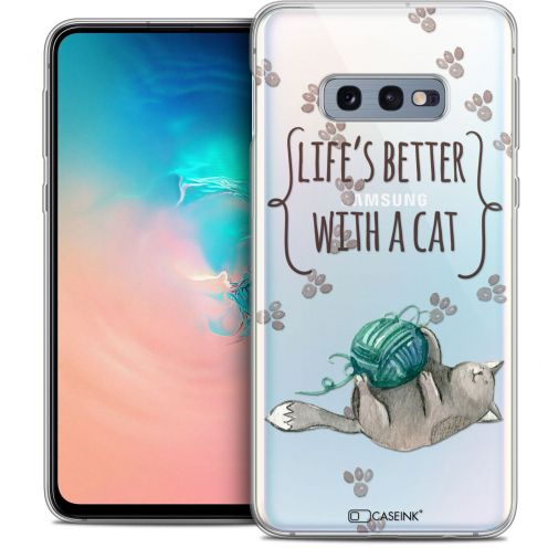 """Extra Slim Crystal Gel Samsung Galaxy S10e (5.8"""") Case Quote Life's Better With a Cat"""